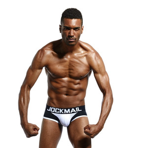 Wholesale JOCKMAIL underpants Sexy men underwear pajamas gay men Underwear Shorts pantie Solid Cotton mesh Briefs Panties Mens bralette