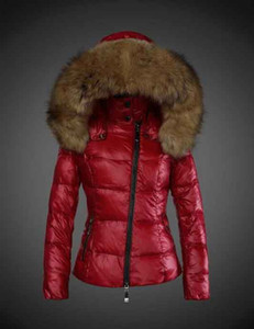 Wholesale New Fashion brand woman fashion short down jacket real Raccoon fur collar hoodies parkas Top down coats