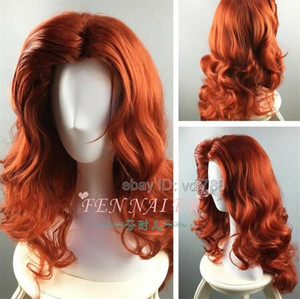 ePacket free shipping 65cm Long Woman's Red Curly Cosplay Wig Synthetic Costume Party Full Hair Wigs