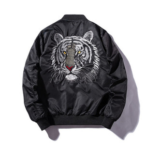 Wholesale Men s spring new handsome wild Hong Kong style tiger embroidery baseball uniform tooling thin jacket