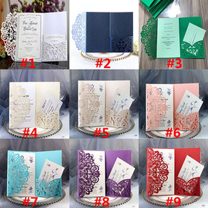 Wholesale Party Birthday Wedding Invitation Cards Kits Flower Laser Cut Pocket Bridal Invitation Card For Engagement Graduate Party Invites HH9