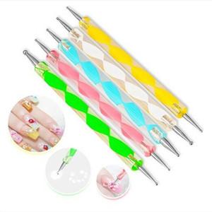 5Pcs Pack Professional Nail Art Tool 2 ways Swirl Marbleizing Steel Dotting Pen