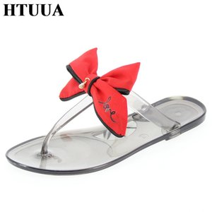 Wholesale HTUUA Brand Fashion Big Bow Slippers Women Sandals Boho Beach Flip Flops Jelly Shoes Casual Flat Slides Summer Sandals SX2181