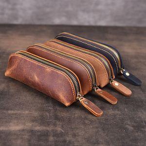 2020 Pencil Case Handmade Leather Pencil Bag Vintage Retro Zipper Fountain Pen Brush Pouch Case For Students
