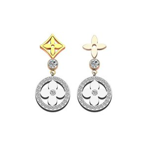 Wholesale 2019 New brass material brand love stud earring with all diamond old flower V Style for women earring jewelry