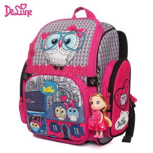 Wholesale Delune New Cartoon School Bag Orthopedic Children s Backpack for Girls D Owls Cat Model Mochila Infantil Grade Satchel