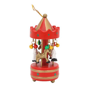 Wholesale merry go round resale online - Wooden Christmas Music Box Hanging Ornaments Mini Merry go round Christmas Tree Hanging Pendant Xmas Decorations for Home