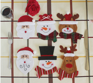 Wholesale antique forks resale online - New arrival Christmas Decorations Small snowman deer and santa fork bags creative home tableware sets