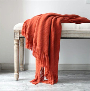 Wholesale blanket woolen resale online - Knitted Throw Blanket with Tassel Plain Colour Knitting Blanket Woolen Yarn Blanket with Tassel for Sofa Bedroom Chairs Supplies