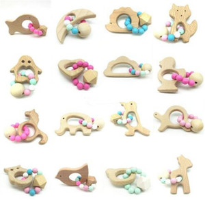Wholesale Baby Teether Rings Food Grade Beech Wood Teething Ring Teethers Chew Toys Shower Play Chew Round Wooden Beads B11