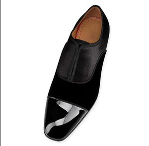 Fashion patent leather patchwork casual shoes banquet wedding style slip-on classic shoes cowhide matte men's loafers rhinestone accessories