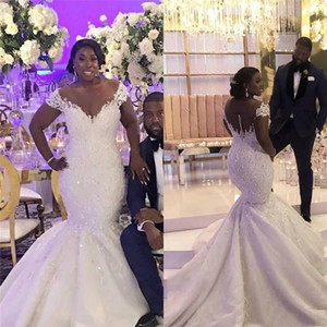 Wholesale African Plus Size Mermaid Wedding Dresses Off Shoulder Lace Appliques Beaded Satin Wedding Dress Bridal Gowns Custom Made