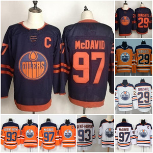 Wholesale 2019-2020 Third Edmonton Jerseys 97 Connor McDavid Oilers 99 Wayne Gretzky 29 Leon Draisaitl 27 Milan Lucic 93 Nugent-Hopkins Orange Blue