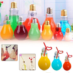 Wholesale Milk Tea Glass or plastic Light Bulb Water Bottle ML ML Drink Fruit Juice Tea Leak proof Containers Lamp Bulb Bottle