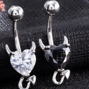 рождественские колокола оптовых-designer jewelry stainless steel navel rings heart litter devil bell button rings for women hot fashion