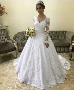 Wholesale Modest Long Sleeve Wedding Dresses 2019 New Scoop Neck Sweep Strain Lace Applique Wedding Gowns Bridal Dress Custom Made