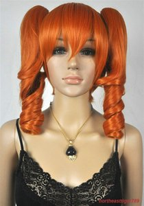 Wholesale ePacket Fashion Medium Orange Curly Pigtail Ponytail Cosplay Women s Hair Wig