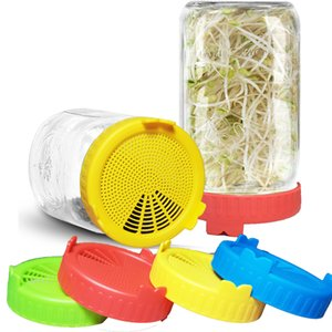 Wholesale grade seed resale online - Mason Jar Sprouting Lids Food Grade Mesh Sprout Cover Durable Kit Seed Growing Germination Vegetable Sealing Ring Lid FFA4146
