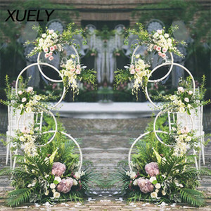 Wholesale Circle wedding props wrought iron artificial flower stand wall shelf round ring arch backdrop round arch birthday decoration