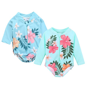 Baby Girls One-Pieces Swimsuit Kids Designer Swimwear Infant Baby Floral Printed Zipper Swimsuit Summer Kids Long Sleeve Swimsuit 06 on Sale