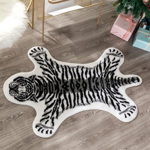 Wholesale cowhide rugs resale online - new tiger printed Rug Cow Leopard Tiger Printed Cowhide faux skin leather NonSlip Antiskid Mat Animal print Carpet