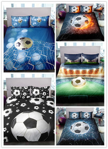 3D Digital Printing Football Bedding Set Soccer Ball in Goal Net Duvet Cover Sets 100% Microfiber Dark Blue