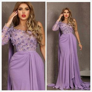 One Shoulder Long Sleeve Evening Formal Dresses 2020 Aso Ebi Arabic Lilac 3D Floral Lace Chiffon Pleated Occasion Prom Gowns on Sale