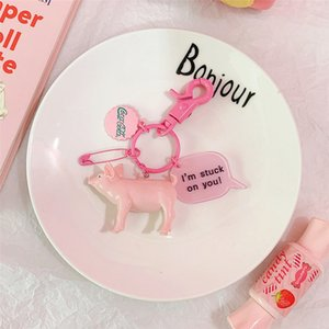 Wholesale 2019 Fashion Cute Cartoon Pig Bottle Cap Keychain Plastic Key Chain For Women Bag Charm Key Ring Pendant Gifts Jewelry