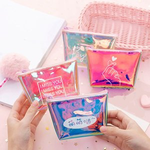 Wholesale 2019 Fashion Womens Lady Kid Coin Wallet PVC Lady Small Mini Coin Pouch Zipper Money Key Earphone Line Coin Holder Purse