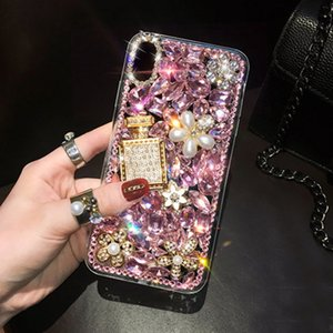 Wholesale black x perfume resale online - Bling Crystal Diamond Perfume Bottle Flower Cases Cover For Iphone Mini Pro XS Max XR X Samsung Galaxy Note S21 S20 Ultra FE Plus