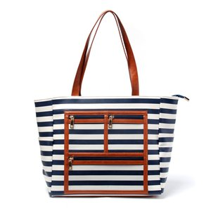 Wholesale Essential Oil Carrier Tote Bag PU PVC Serape WOW Display Bag Stripes Show Off Purse White Black Gift Bag DOM