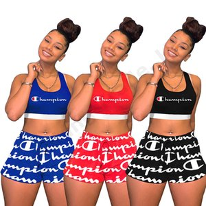 Wholesale Women Champions Letter Printed Tracksuit Crop Tank Vest Shorts 2 Piece Outfit Sleeveless Sportswear Yoga Joggers Set Sports Casual SuitC3261
