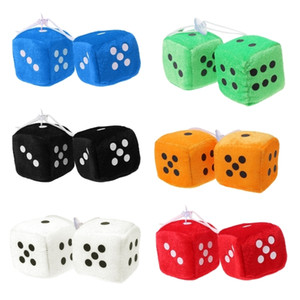ingrosso specchio di retrovisione interna dell'automobile-2pcs Car styling Arredamento Fuzzy Dice Dots retrovisione specchio appendiabiti in auto per Accessori Interni Ornamenti