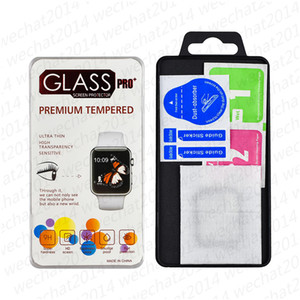 Wholesale watch protector resale online - 50PCS D Full Glue Full Cover Screen Protector Tempered Glass Screen Protector for Apple Watch with Package