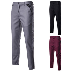 Wholesale Pure Color Men Small Splice Suit Pants Gray Red Black Slim Fit Mens Pants Fashion Business Men Dress Trousers Size S M XL XXL