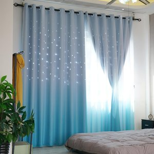 Wholesale Pastoral Curtains for Living Dining Room Lace Fabric Hollow Star Kids Curtain for Bedroom Tulle Curtain Gradual Change Fantastic