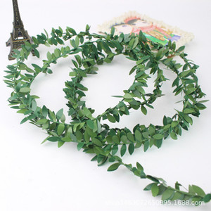 Wholesale 7 M Wired Green Leaves Garland Silk Artificial Vine Greenery Foliage Flower Garland Home Garden Wedding Decorations Wall Decor DIY Craft