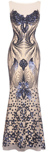 Fazadess Women 's 1920s Sequin Butterfly Floral Art Deco Maxi Long Evening Party Dress on Sale