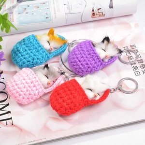 Wholesale Cute Sleeping Cat Pompom Keychain for Women Girls Fluffy Fur Ball Animal Baby Car Key Ring Bag Phone Hang Pendant Keychains