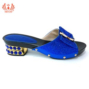 Wholesale 2019 Blue African Women Shoes Decorated with Rhinestone Italy Women Shoes for Party Italian Summer Sexy Low Heels Sandals