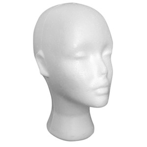 Wholesale 2PCS Styrofoam Foam Mannequin Female Head Display Stands Model Dummy Wig Glasses Hat Display Stand Hair Tools