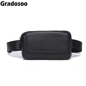 Wholesale Gradosoo Fashion Women Fanny Pack Leather Waist Bag For Men Belly Bags Casual Travel Belt Bags Female Phone Pouch Mini Bag A067