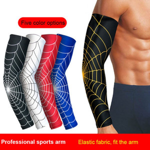 Wholesale 1Pcs UV Protection Running Cycling Arm Warmers Spider Net Printed Arm Sleeves Bike Covers Golf Sports Elbow Pads new