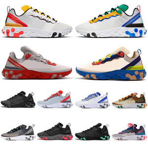 Wholesale New React Element Tour Yellow Running Shoes men women Orange Peel triple black white Sail Royal Red mens trainers sports sneakers