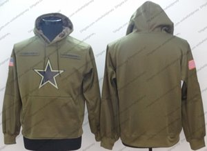 Men's Dallas Sweatshirt Cowboys Hoodie 2018 Olive Salute to Service Sideline Therma Performance Pullover Hoodie S-3XL on Sale