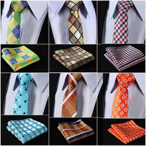Wholesale Woven Men Tie Necktie Pocket Square T5 HISDERN Mix Pattern Floral Party Wedding quot Silk Tie