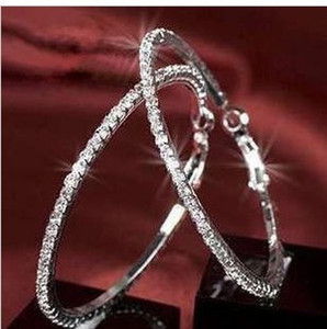 Wholesale Fashion jewelry rhinestone hoop diamond earrings for women pairs of beautiful full earring versatile earrings free delivery