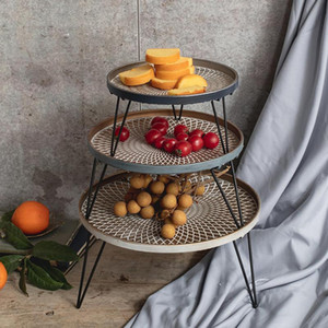 Wholesale wrought irons resale online - Vintage Industrial Wrought Iron Round Tray Racks Fruit Snack Food Bread Dessert Storage Tray Desktop Decoration Plate