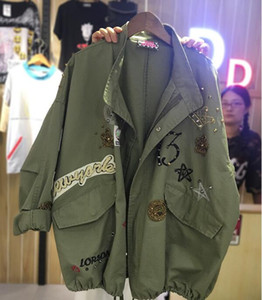 Wholesale- Long Sleeve Oversized Jeans Jacket Women Loose embroidery Basic Jacket Coat Female Jeans Coat Casual Girls Outwear