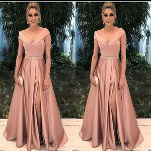2020 A Line Satin Crystal Deep V Neck Off Shoulder Sexy High Side Split Pageant Sash Evening Dresses Formal Mother Party Gowns Guest on Sale